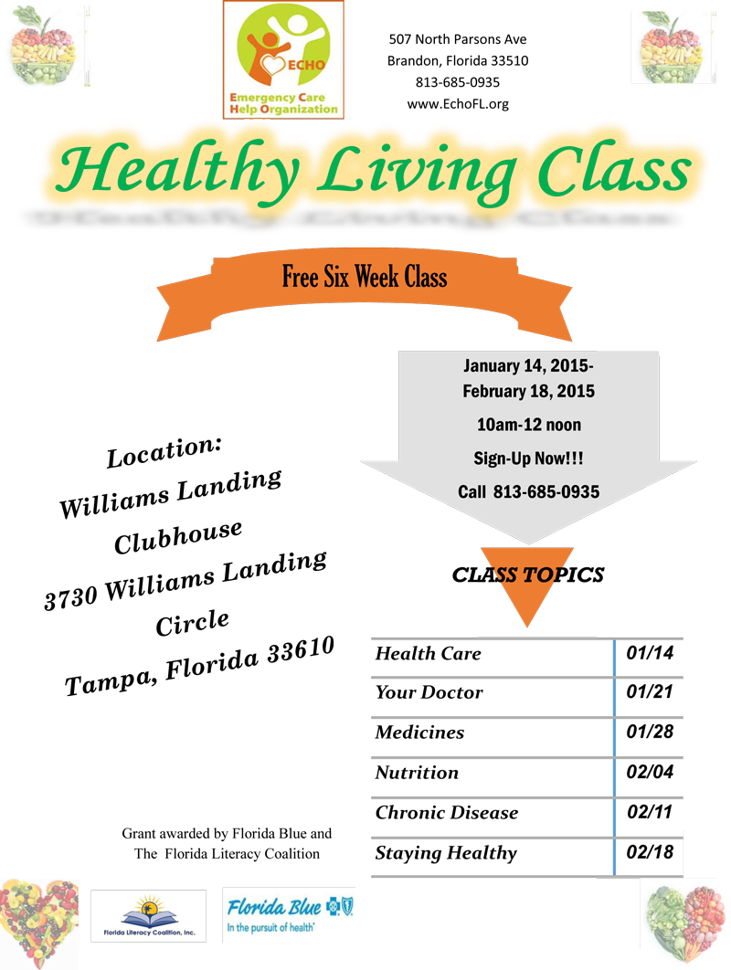 Healthy Living Class @ ECHO of Brandon | Brandon | Florida | United States