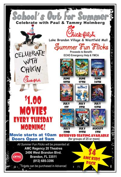 Summer Fun Flicks $1 Movie @ AMC Regency 20 Theaters | Brandon | Florida | United States